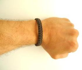 men's leather bracelet . macrame hadmade bracelet. men's bracelet. handcrafted bracelet, brown bracelet