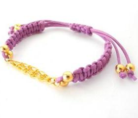Gold chain purple Macrame, Bead Bracelet, Multi Chains purple Macrame Bracelet, under 15, purple macrame