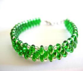 emerald bracelet, emerald beaded bracelet,Seed Bead bracelet, summer colors bracelet, woven, green emerald, seead Beaded Bracelet.