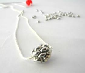 silver pendant,silver Sphere pendant necklace,Beadwork, silver necklace, Sphere pendant.
